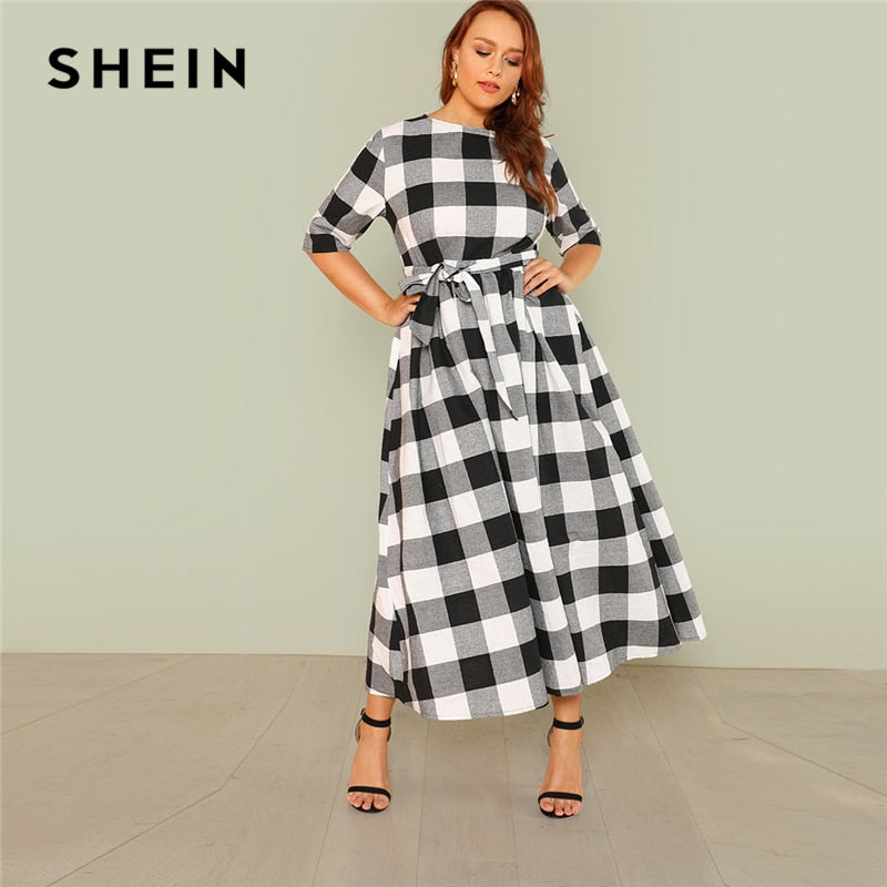 Self Belted Gingham Maxi Dress