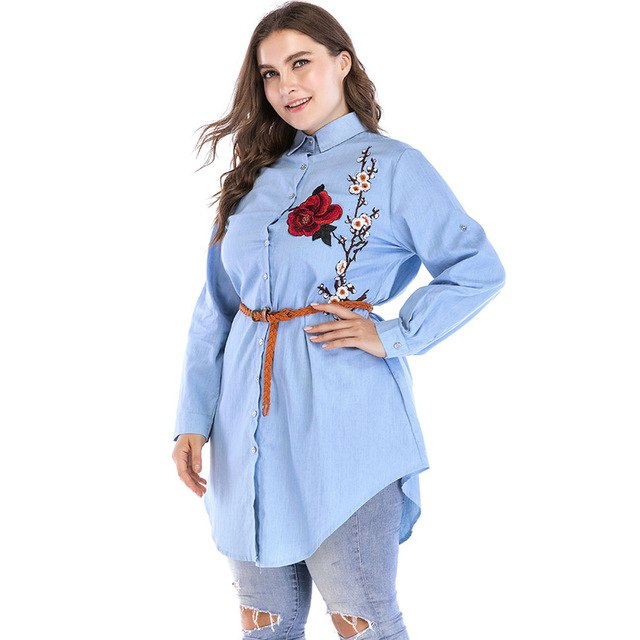 Women Blouses Floral Embroidery Clothing