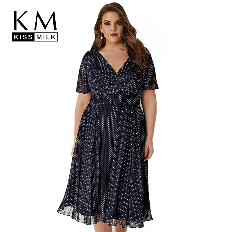 Plus Size Casual V Neck Dress