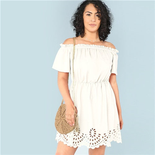 Off the Shoulder Plus Size Women Dress