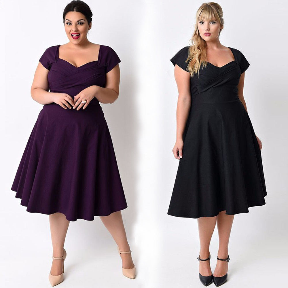 Short Sleeve Formal Cocktail Swing Dress