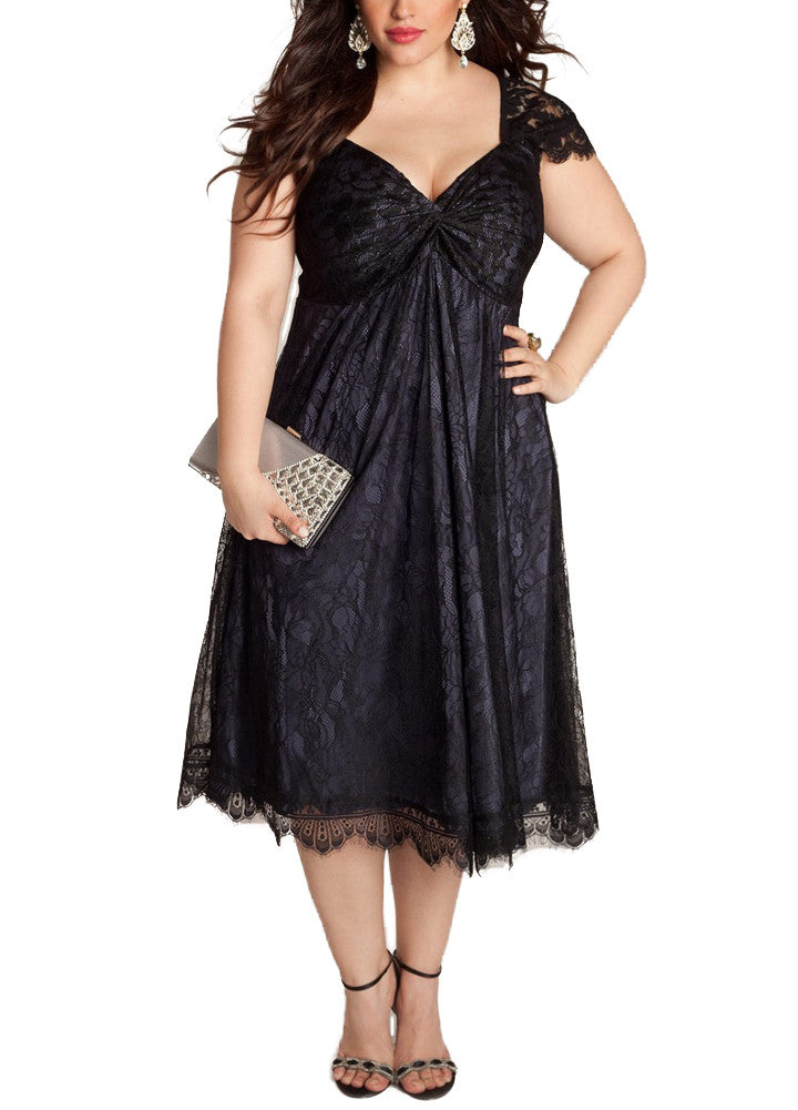 Floral Lace Cap Sleeve Party Wear