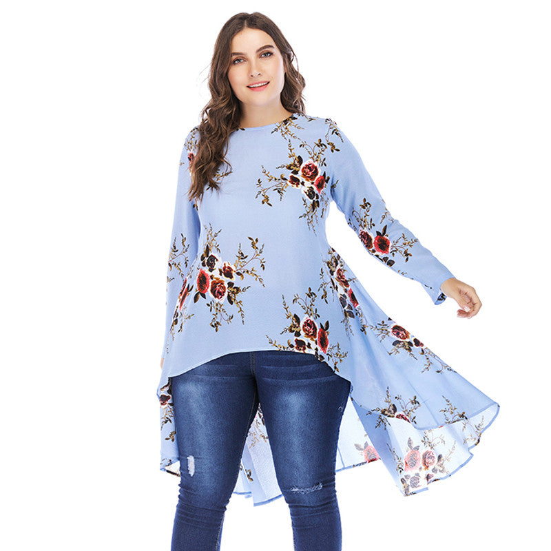 New Women Plus Size Floral Blouse High