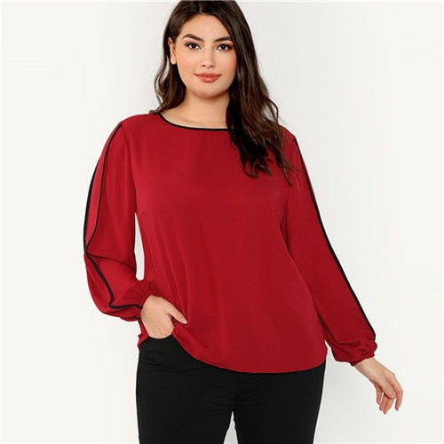Plus Size Lantern Long Sleeve Burgundy Blouse