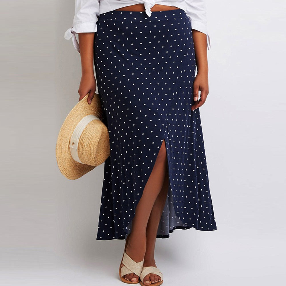 Dot Slit Pleated Skirt