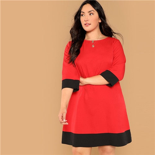 Plus Size Office Lady Straight Dress
