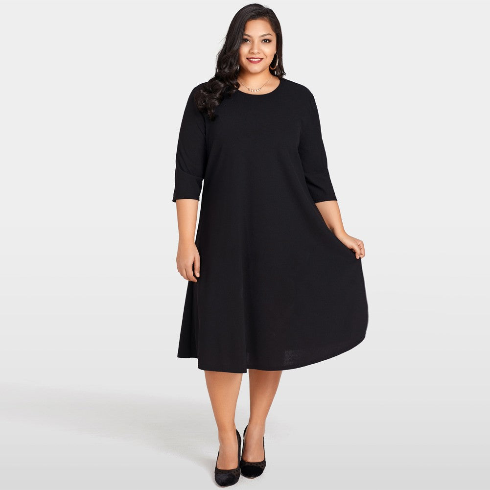 Three Quarter Sleeve Black Dress