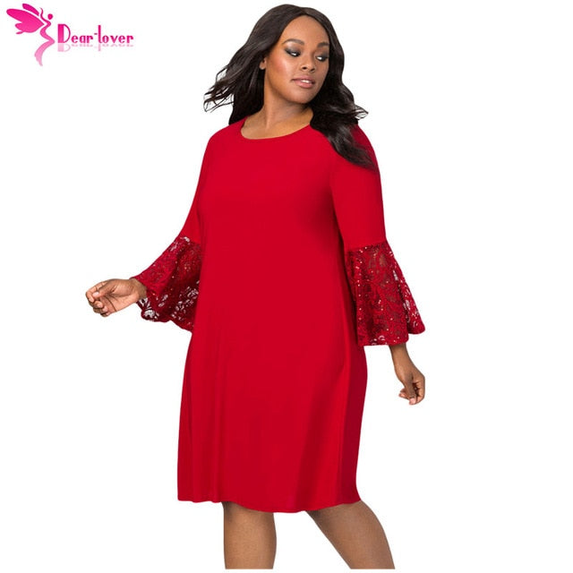 Sequin Lace Bell Sleeve Party Dress
