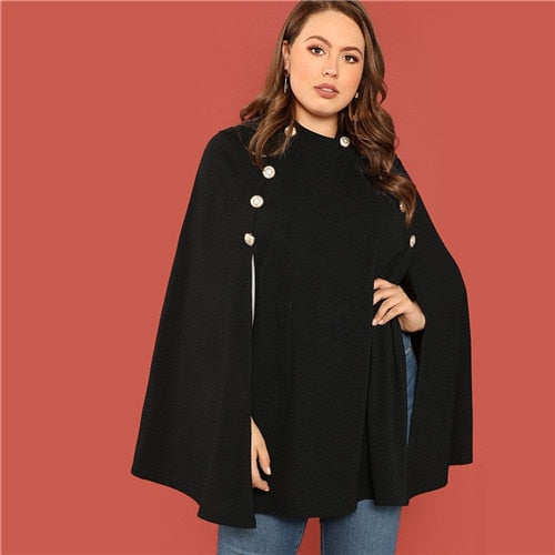 Double Breasted Cloak Sleeve Long Cape Coat