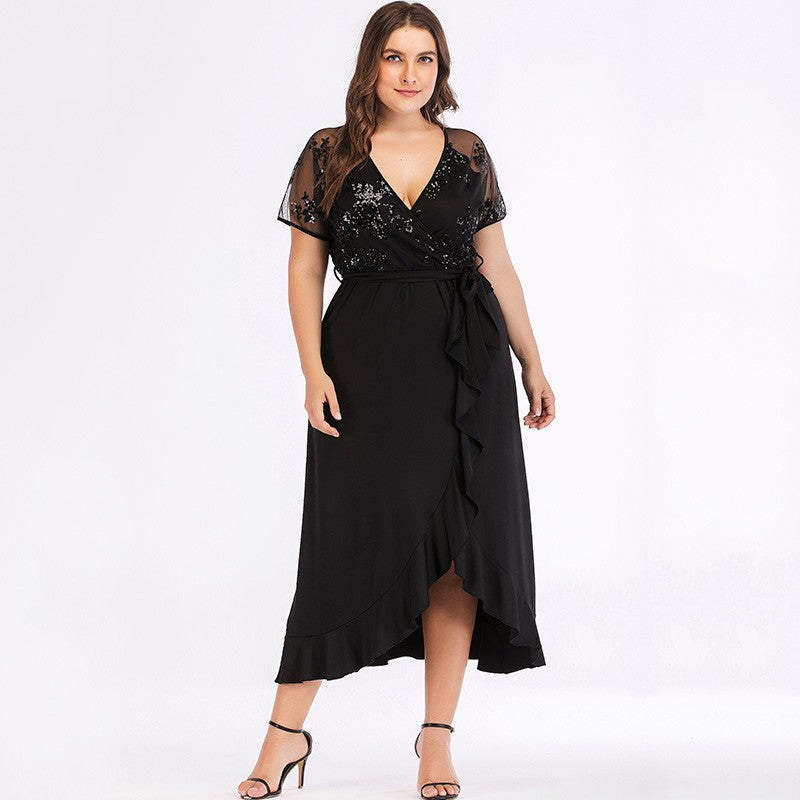 Sequined Sheer Mesh Ruffled Dress