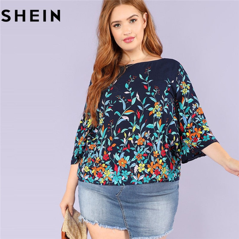 Floral Print Plus Size Women Blouse