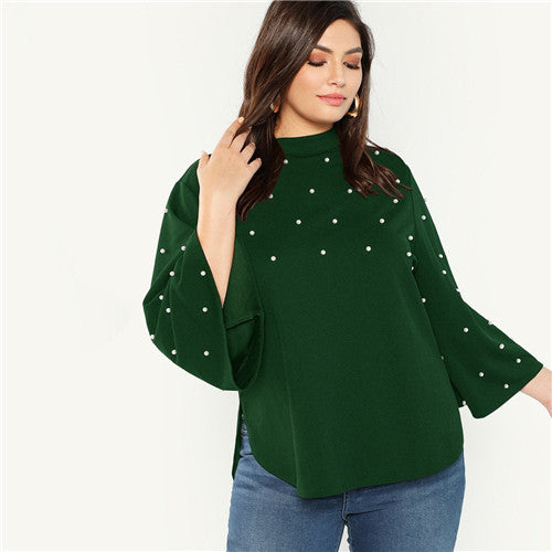 SHEIN Plus Size Black Stand Collar Pearl Beaded Long Flare Sleeve Stand Collar Women Casual Autumn Solid Top Blouses