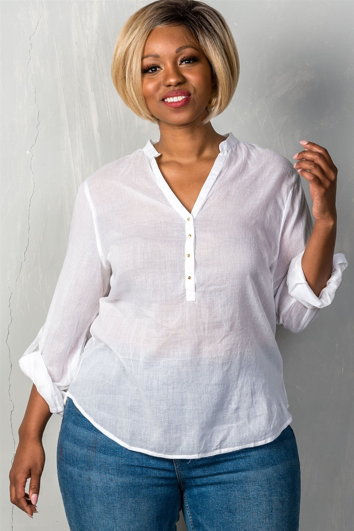 Plus Size White Roll-Sleeve Top