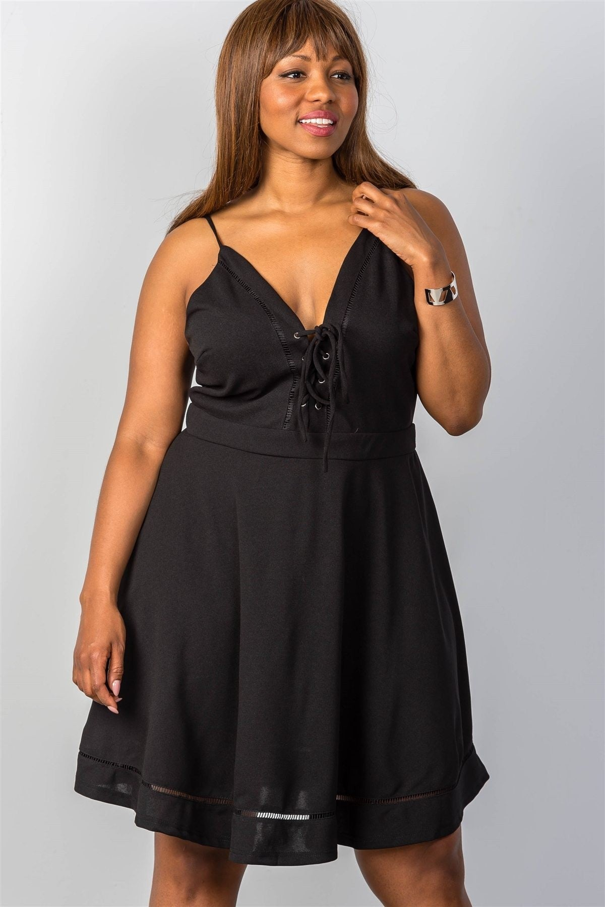 Plus Size  Lace-Up Midi Dress - Black