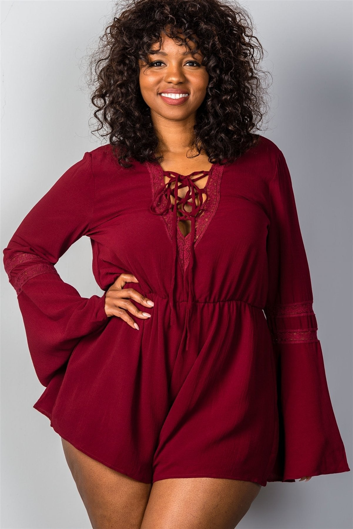Plus Size Plunging V-Neck Romper - Red