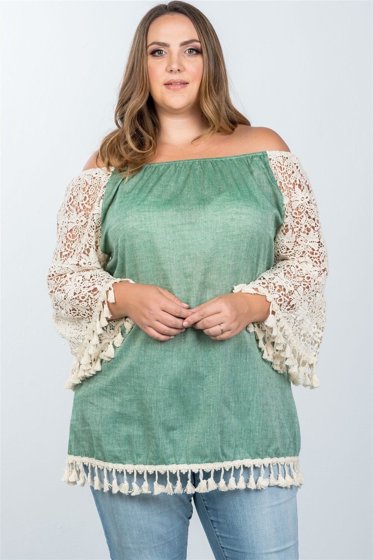 Plus Size Boho Off Shoulder Tassel Top