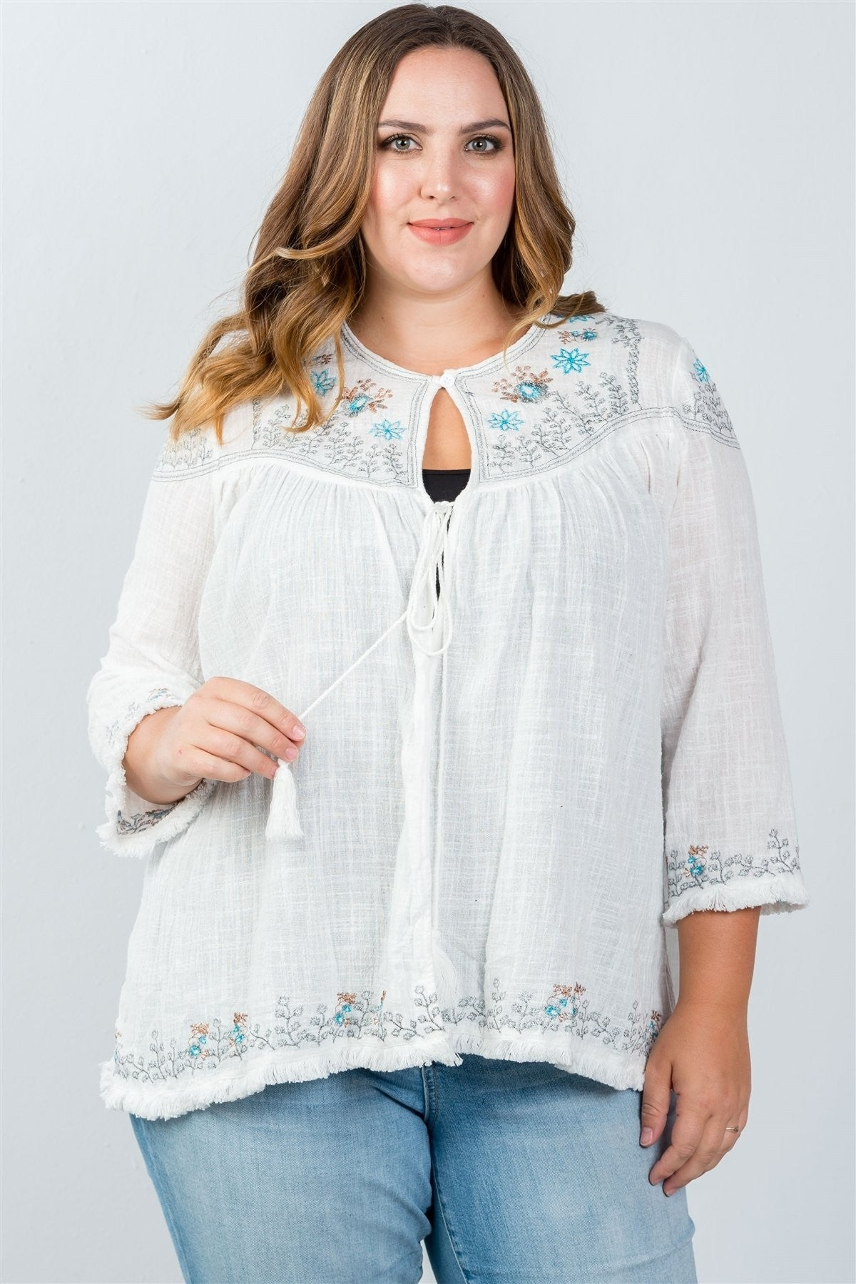 Plus Size Embroidered Flower Cardigan
