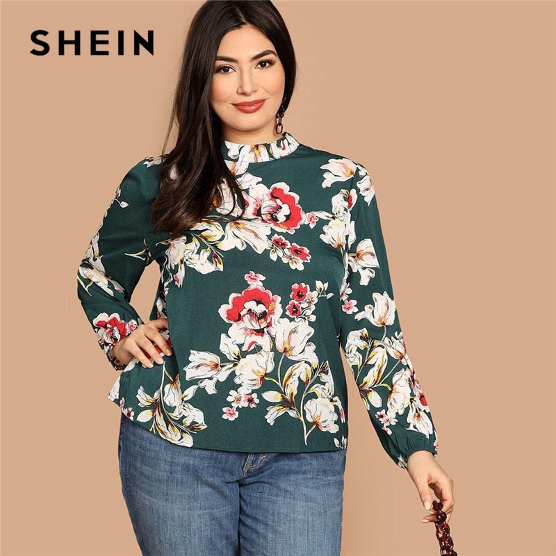 SHEIN Plus Size Floral Print Women Green Blouse Spring Autumn Fashion