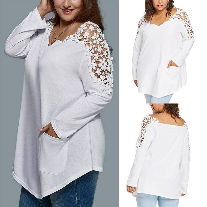 Lace Long Sleeve Baggy Blouse