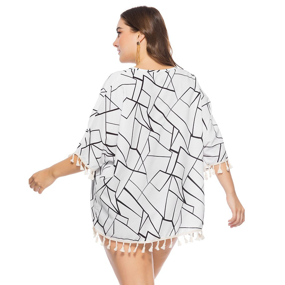 Boho Ladies Blouse Geometric Print with Trendy Tassels Finishing