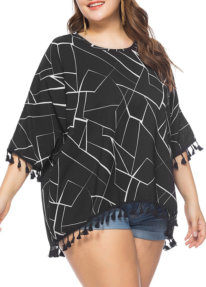 Boho Women Plus Size Blouse Contrast Irregular Geometric Patterns Print 3/4 Sleeve Fringe Loose Long Tops