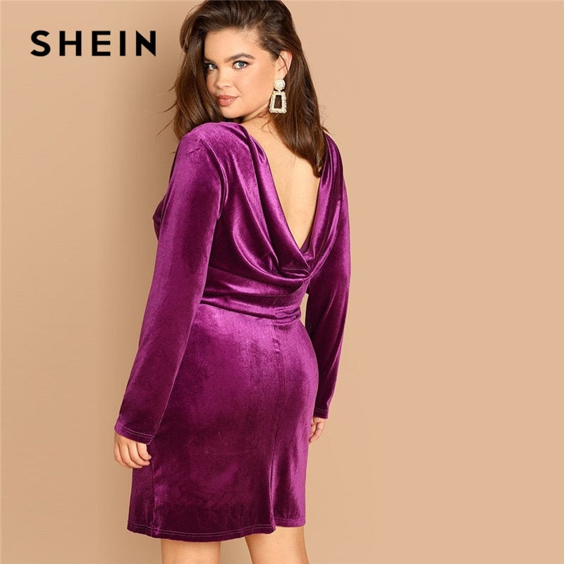 Plus Size Backless  Velvet Pencil Dress