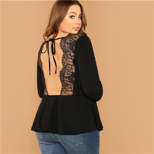 Plus Size Backless Top Blouse