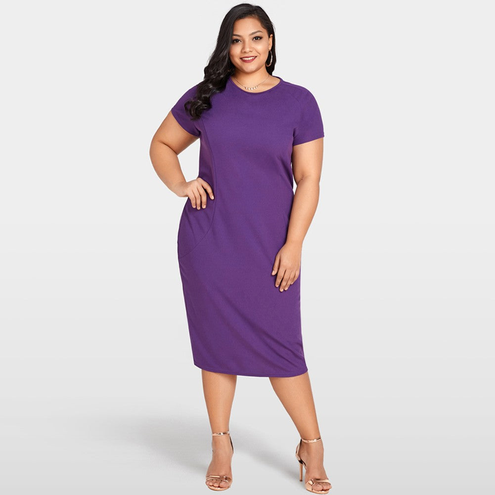 New Sexy Women Plus Size Bodycon Dress O Neck Short Sleeve Back Zipper Cocktail Evening Party Dress Purple