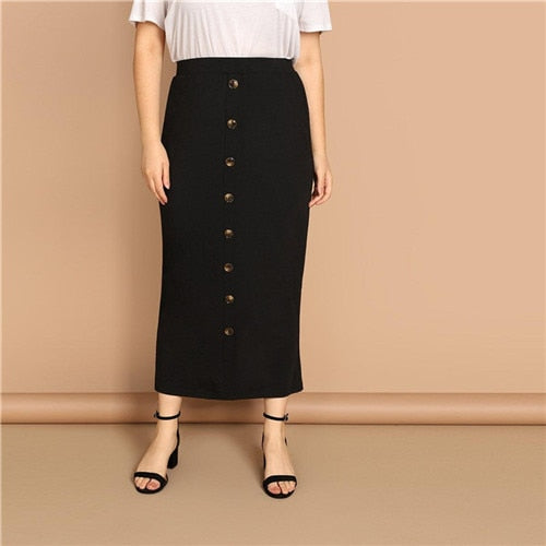 Plus Size Button Trim Black Pencil Skirt