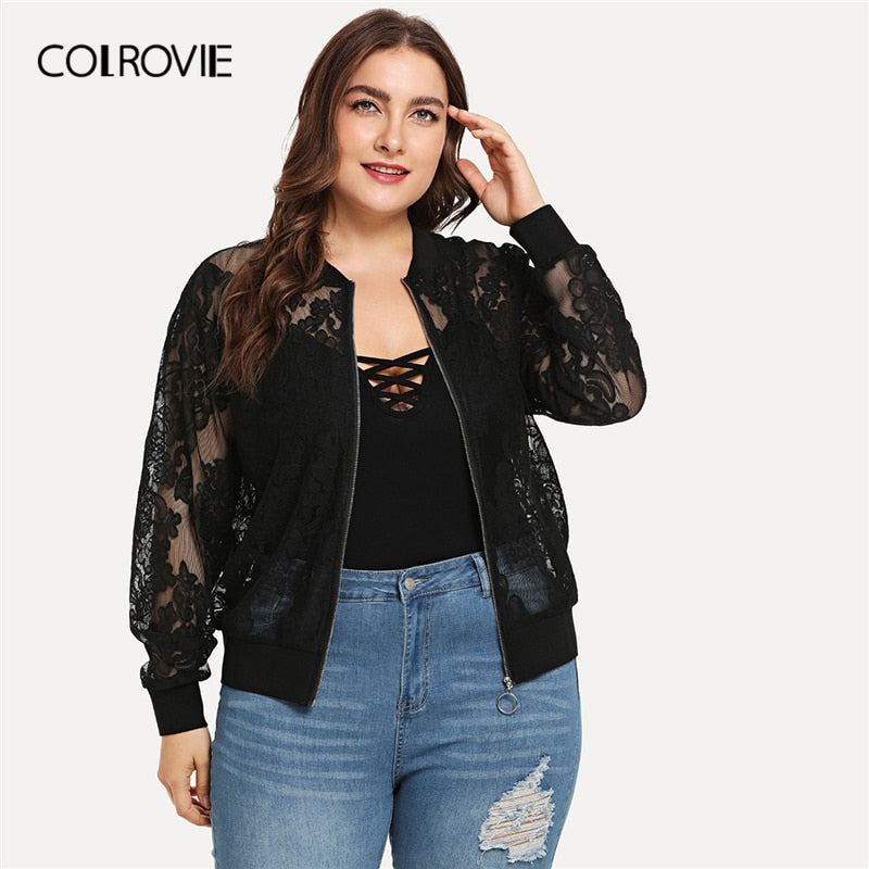 Solid Zipper Lace Jacket