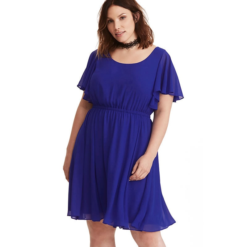 2018 New Large Size Summer Dress Casual O Neck Short Sleeve A Line Dresses Fashion Elastic Waist Chiffon Dress Plus Size XL-6XL