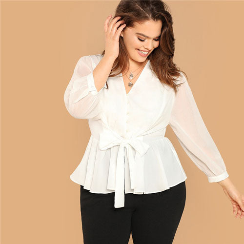 White Button Front Belted Top