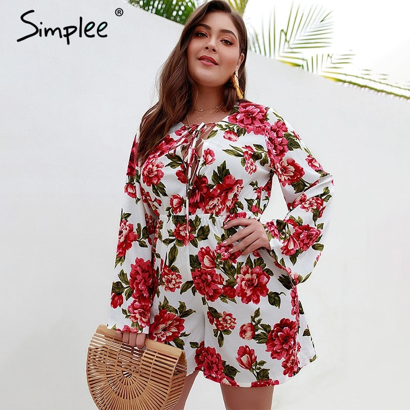 Simplee Bohemian floral print women playsuit Elegant flare sleeve female jumpsuit romper Casual summer plus size short overalls