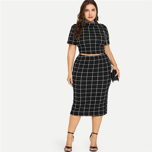 Mock Neck Crop Grid Tee And Skirt Set