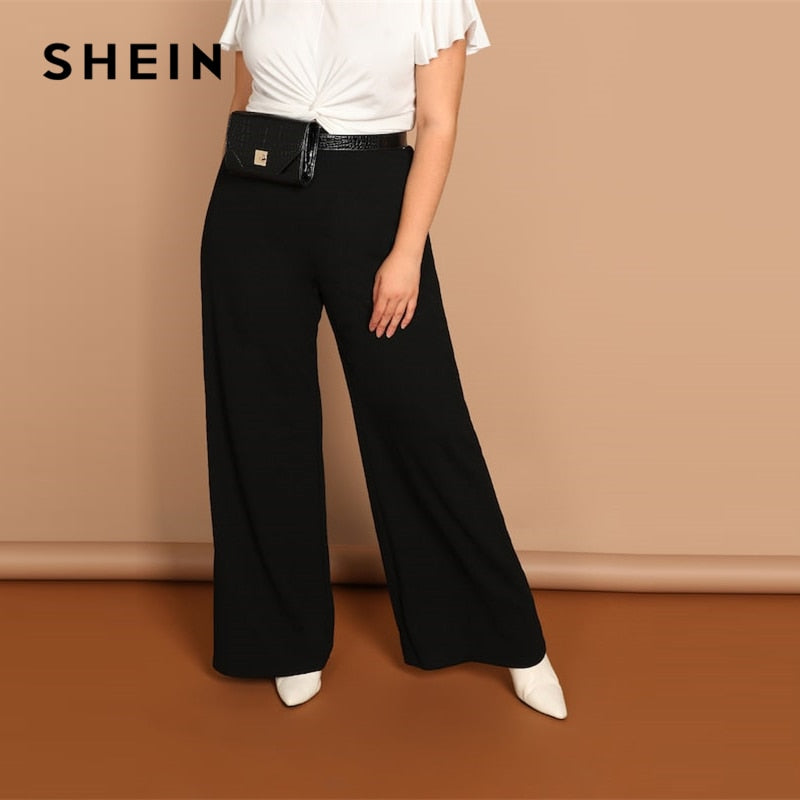 Plain Wide Leg Long Pants