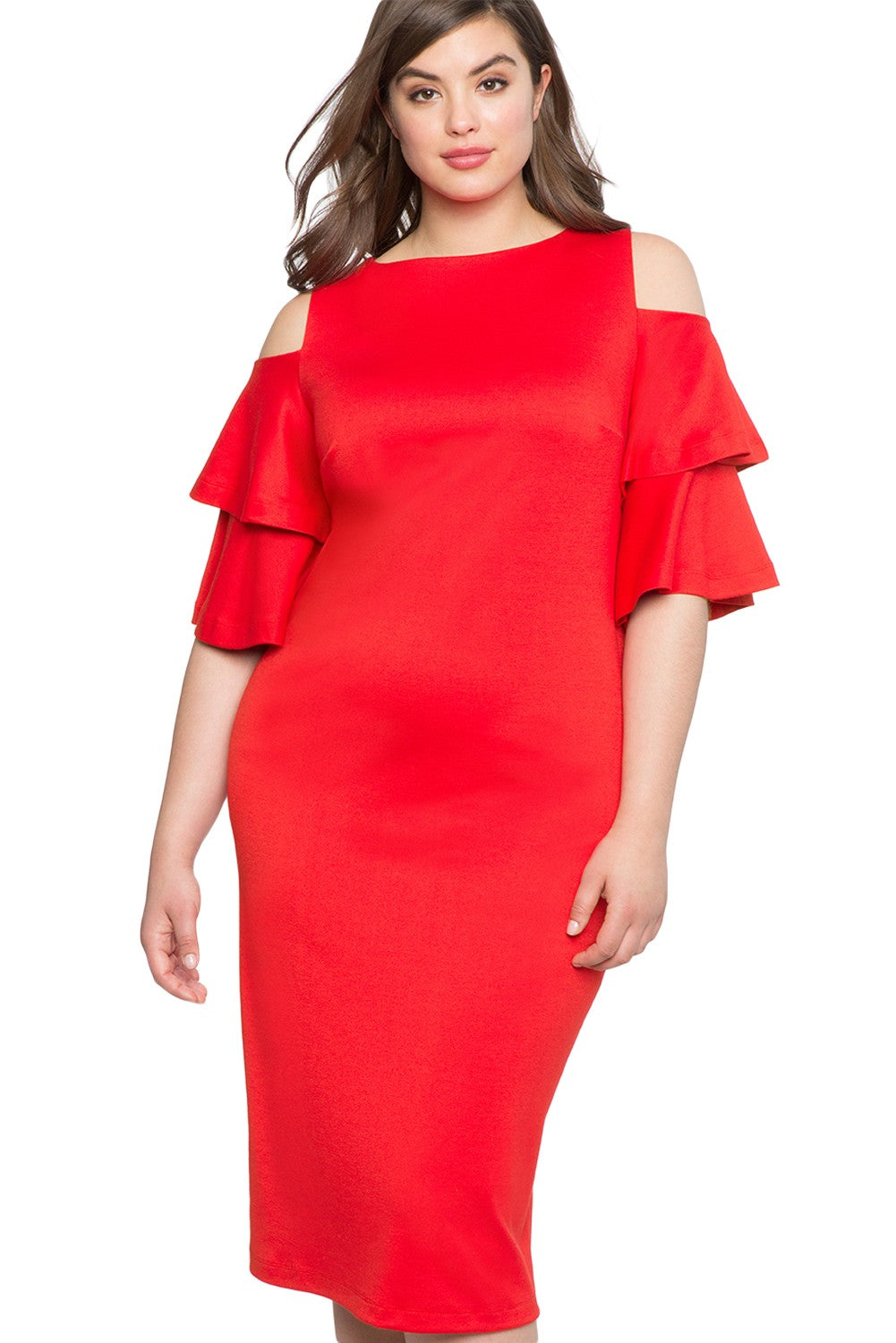 Red Plus Size Flounce Sleeve Dress