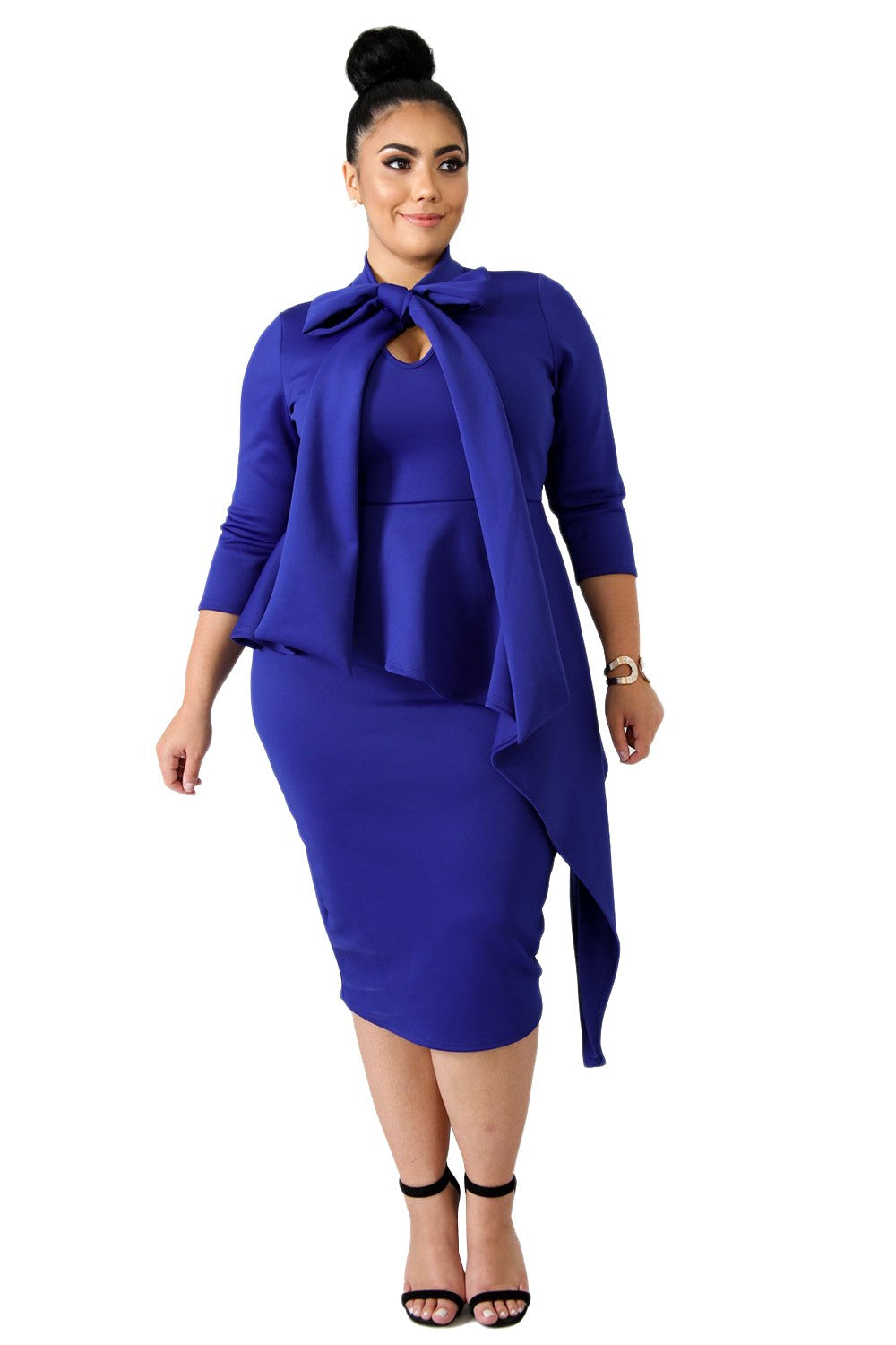 Blue Plus Size Bodycon Dress
