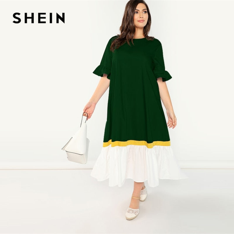 Plus Size Green Women Button Dress