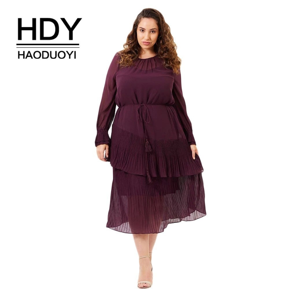 HDY Haoduoyi New Large Size Simple  Asymmetric Dresses