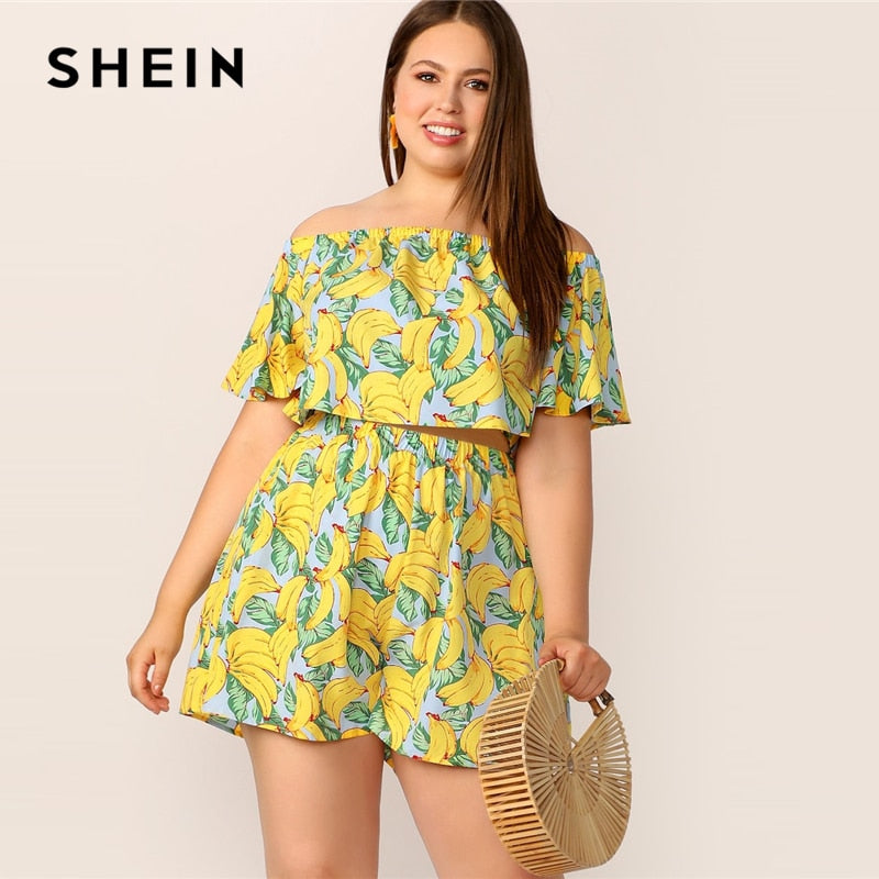 Plus Size Yellow Crop Top And Shorts Set