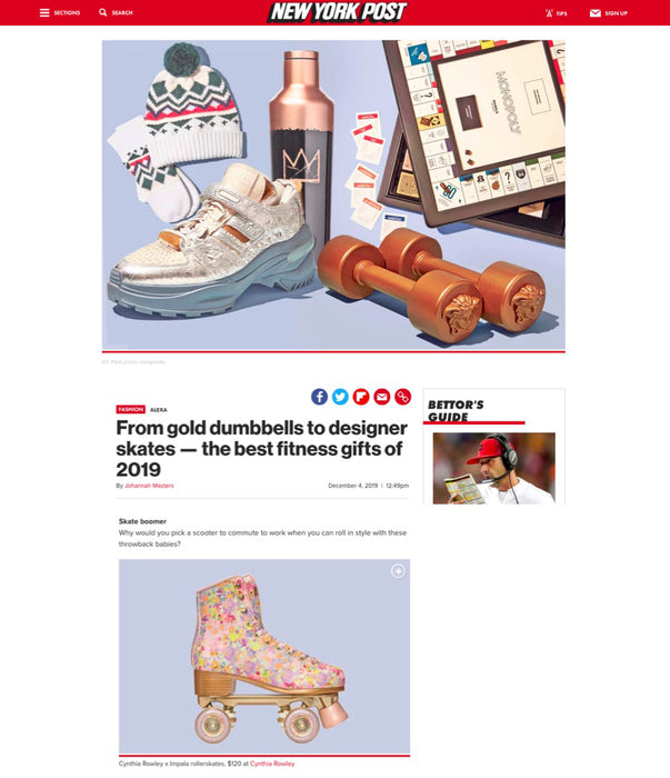 Impala Rollerskates featured in New York Post for being a best fitness Christmas gift of 2019