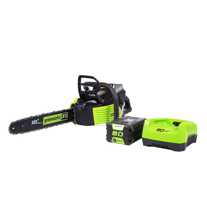 GreenWorks 2000002 80-Volt 18-Inch 2.0Ah Heavy Duty Cordless Chainsaw Kit