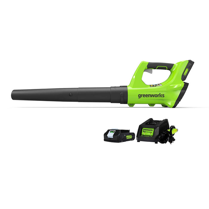 GreenWorks 2400702 24-Volt 330-Cfm 2Ah Durable Cordless Axial Leaf Blower Kit