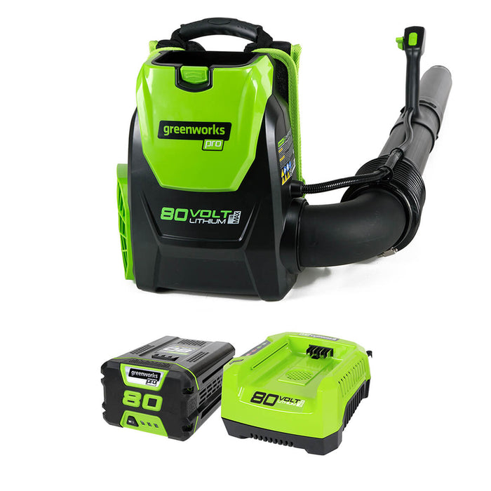 GreenWorks 2404802 80-Volt 2.5Ah 580-Cfm Axial Fan Brushless Backpack Leaf Blower Kit