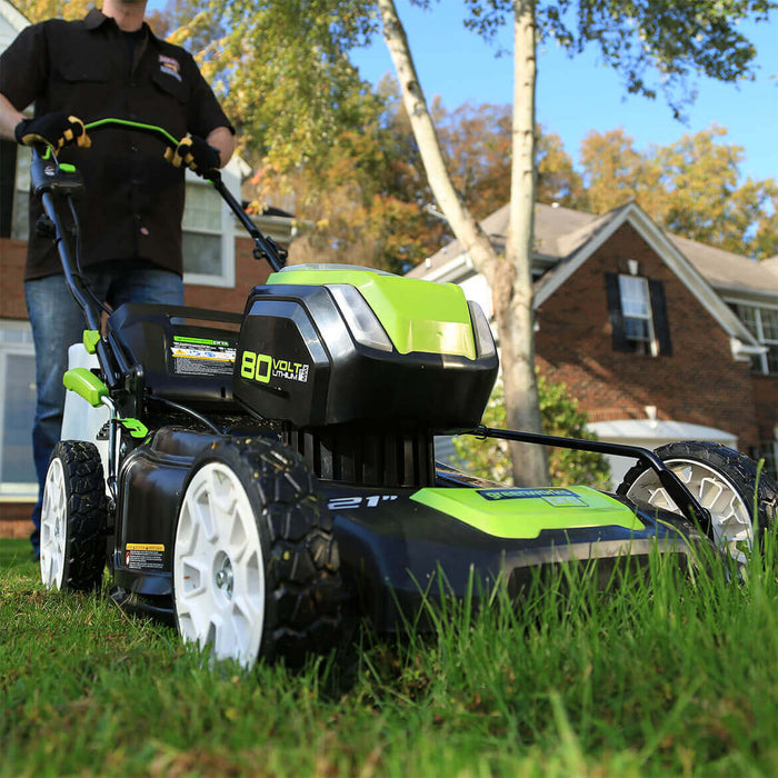 GreenWorks GLM801602 80-Volt 21-Inch 4.0Ah Digipro Lawn Mower Kit - 2501202