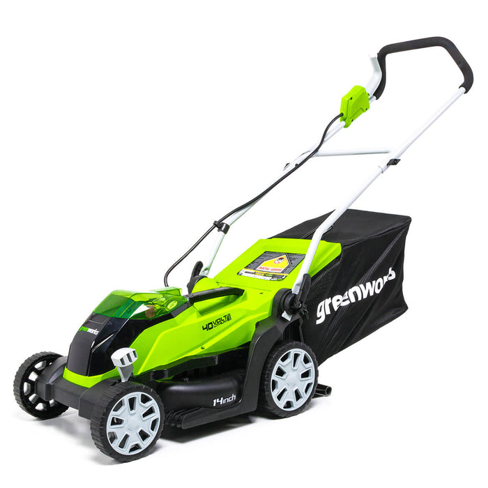 GreenWorks MO40B00 40-Volt 14-Inch Cordless Lawn Mower - Bare Tool - 2506302
