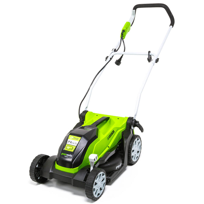 GreenWorks MO09B01 14-Inch 9-Amp Heavy Duty Electric Brushless Lawn Mower