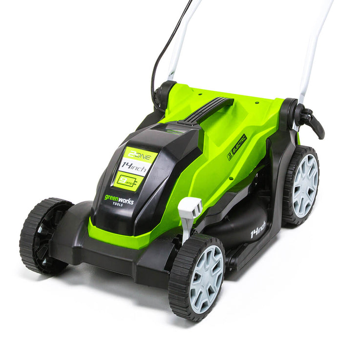 GreenWorks MO09B01 14-Inch 9-Amp Heavy Duty Electric Brushless Lawn Mower - 2507402