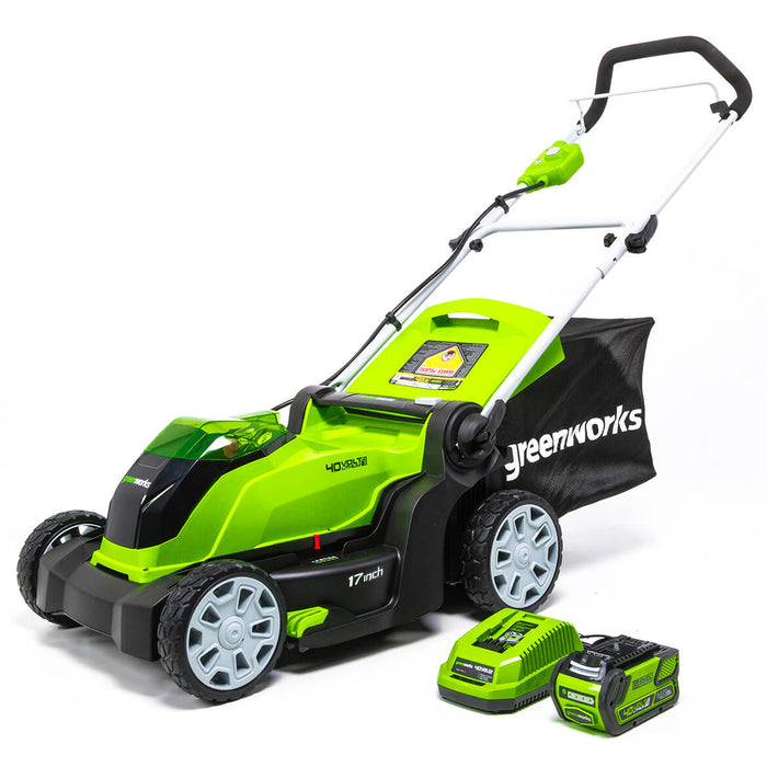 GreenWorks MO40B411 40-Volt 17-Inch Cordless Brushed Lawn Mower Kit - 2508302