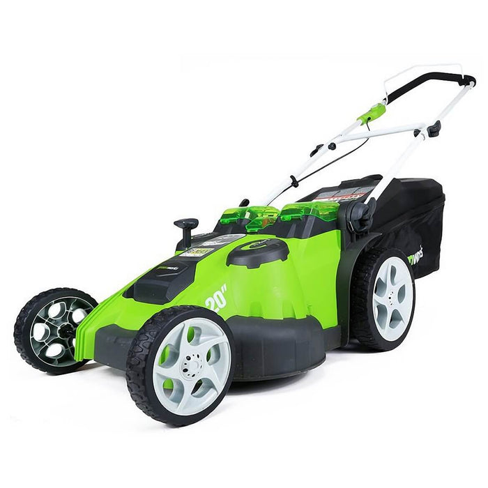 "GreenWorks 25302 40V 20"" 4/2.0Ah Cordless Twin Force Walk Behind Lawn Mower"